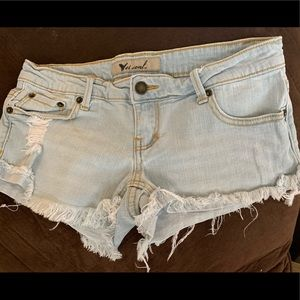 Wet Seal distressed jean shorts size 1.